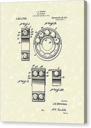 Ball Bearing 1919 Patent Art Canvas Print by Prior Art Design