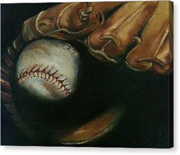Baseball Glove Canvas Print - Ball In Glove by Lindsay Frost