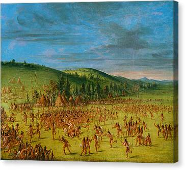 Ball-play Of The Choctaw--ball Up Canvas Print by George Catlin