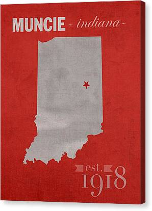 Indiana Canvas Print - Ball State University Cardinals Muncie Indiana College Town State Map Poster Series No 017 by Design Turnpike