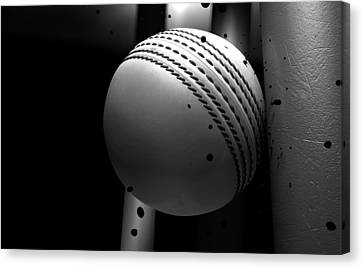 Ball Striking Stumps Canvas Print by Allan Swart