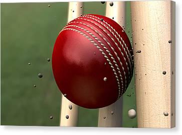 Ball Striking Wickets Canvas Print by Allan Swart