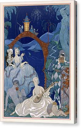 Lute Canvas Print - Ball Under The Blue Moon by Georges Barbier