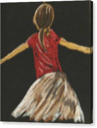 Canvas Print featuring the drawing Ballarina 1 In Red by Joseph Hawkins