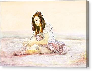 Tying Shoe Canvas Print - Ballerina by Cindy Singleton