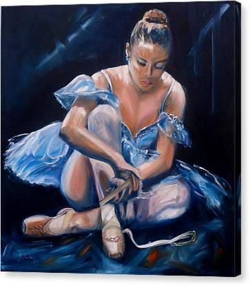 Tying Shoe Canvas Print - Ballerina II by Donna Tuten