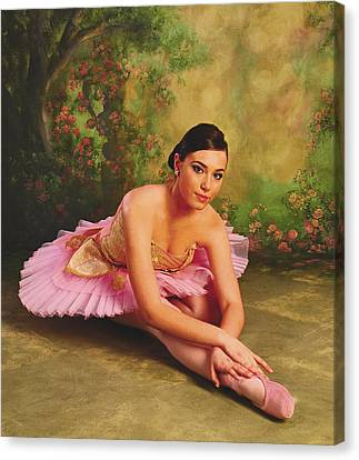 Dance Ballet Roses Canvas Print - Ballerina In The Rose Garden by ARTography by Pamela Smale Williams