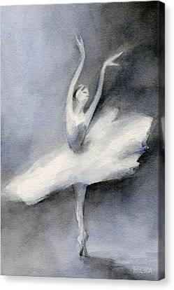 Ballerina In White Tutu Watercolor Painting Canvas Print by Beverly Brown