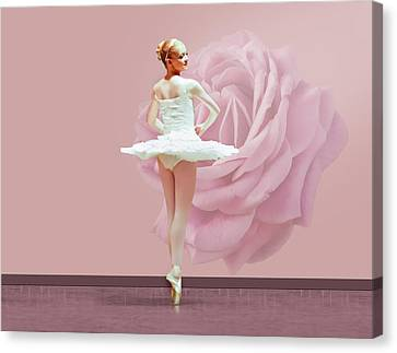 Dance Ballet Roses Canvas Print - Ballerina In White With Pink Rose  by Delores Knowles
