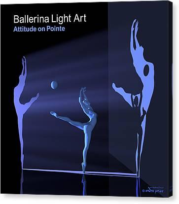 Ballerina Light Art - Blue Canvas Print by Andre Price
