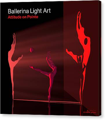Ballerina Light Art - Red Canvas Print by Andre Price