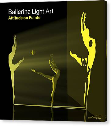 Ballerina Light Art - Yellow Canvas Print by Andre Price