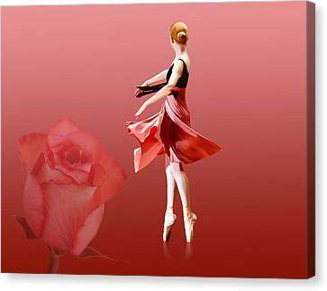 Dance Ballet Roses Canvas Print - Ballerina On Pointe With Red Rose  by Delores Knowles