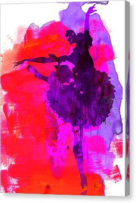 Ballerina Watercolor 3 Canvas Print by Naxart Studio