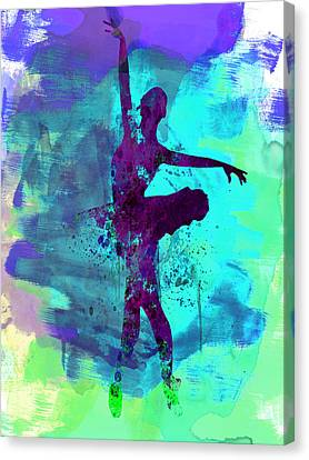 Ballet Dancers Canvas Print - Ballerina Watercolor 4 by Naxart Studio