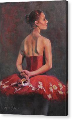 Ballerina With Mask Canvas Print by Anna Rose Bain