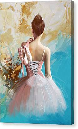 Ballet Dancers Canvas Print - Ballerina's Back  by Corporate Art Task Force