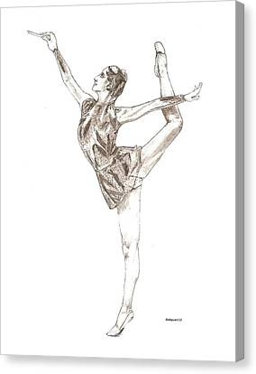 Ballet A Pencil Study In Black And White Canvas Print by Mario Perez