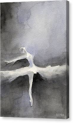 Silhouettes Canvas Print - Ballet Dancer In White Tutu Watercolor Paintings Of Dance by Beverly Brown Prints