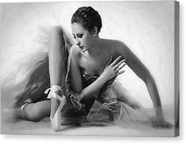 Ballet Dancer Sitting Black And White Canvas Print by Tony Rubino