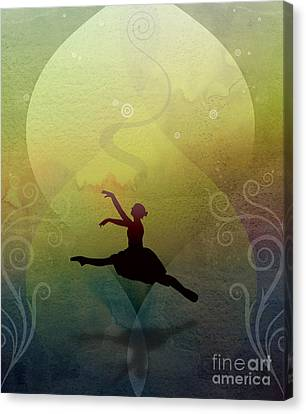 Ballet In Solitude - Color Verde Canvas Print by Peter Awax