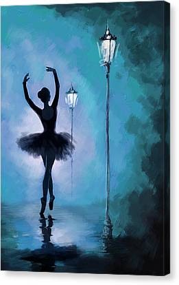 Ballet Dancers Canvas Print - Ballet In The Night  by Corporate Art Task Force
