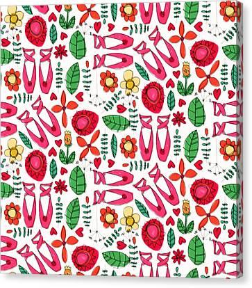 Red Leaf Canvas Print - Ballet Scribble Fleur by Sharon Turner