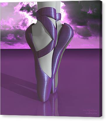 Ballet Toe Shoes Over Colorful Lavender Clouds Canvas Print by Andre Price