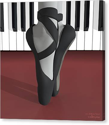Ballet Toe Shoes Over Royal Red And Piano Keys Canvas Print by Andre Price