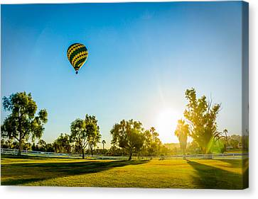Canvas Print featuring the photograph Balloon At Sunset by Alex Weinstein