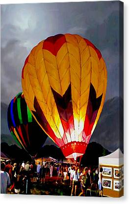 Still Life Of Wine And Grapes Canvas Print - Balloon Glow by Ron Chambers