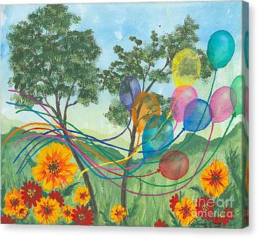 Balloon Release Canvas Print by Denise Hoag