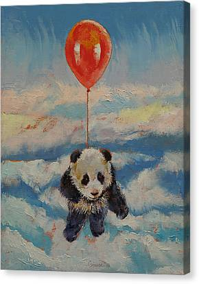 Panda Canvas Print - Balloon Ride by Michael Creese
