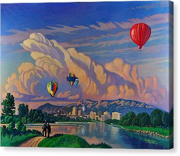 Canvas Print featuring the painting Ballooning On The Rio Grande by Art James West