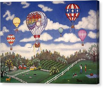 Ballooning Over The Country Canvas Print by Linda Mears