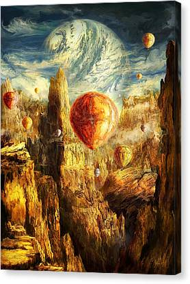 Ballooning Through The Cosmic Chasm Canvas Print by Ernest Tang