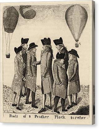 Balloonists Cartoon, 1785 Canvas Print by Science Photo Library