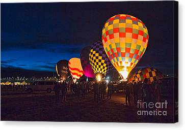Hot Air Balloons Canvas Print - Balloons And The Morning Glow In Panorama by Mimi Ditchie