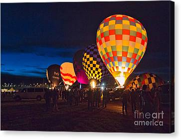 Hot Air Balloons Canvas Print - Balloons And The Morning Glow by Mimi Ditchie