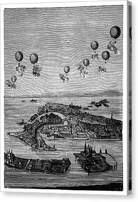 Balloons Bombing Venice Canvas Print by Science Photo Library