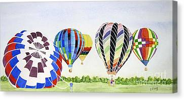 Canvas Print featuring the painting Balloons by Carol Flagg