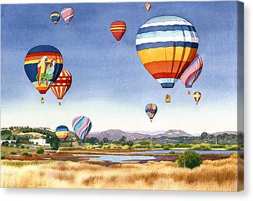 Balloons Over San Elijo Lagoon Encinitas Canvas Print by Mary Helmreich