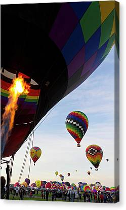 Balloons Preparing To Leave Canvas Print