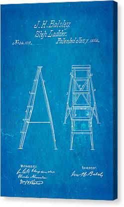 Balsley Step Ladder Patent Art 1862 Blueprint Canvas Print by Ian Monk