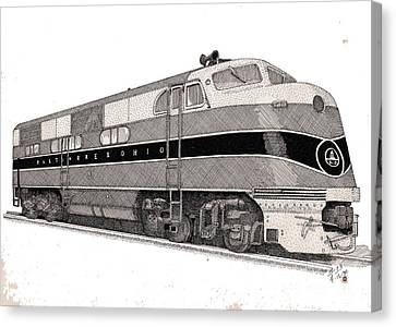 Baltimore And Ohio Diesel Engine Canvas Print by Calvert Koerber
