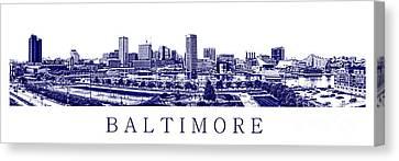 Baltimore Blueprint Canvas Print by Olivier Le Queinec