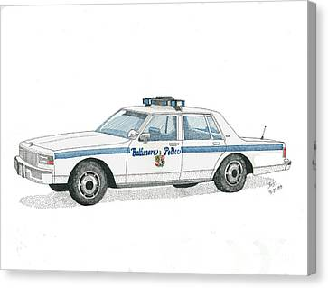 Baltimore City Police Vehicle Canvas Print by Calvert Koerber