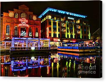 Baltimore Harbor Bridge Walk At Night Canvas Print by Olivier Le Queinec