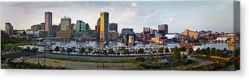Baltimore Harbor Skyline Panorama Canvas Print by Susan Candelario