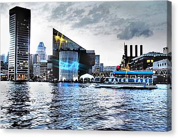Baltimore - Harborplace - Inner Harbor At Night  Canvas Print by Donna Haggerty